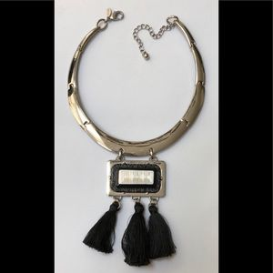 Chico's Silvertone statement Collar Necklace